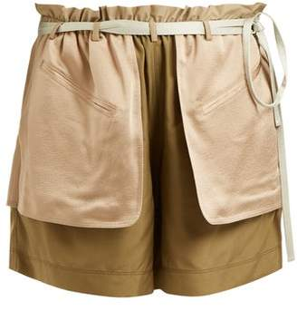 Valentino Contrast Pocket Elasticated Waist Silk Shorts - Womens - Green Multi