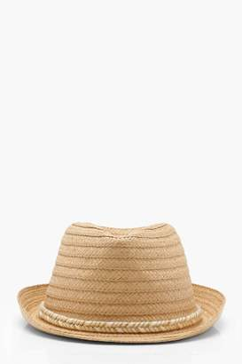 boohoo Kate Metallic Plait Band Straw Trilby