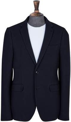 Dorothy Perkins Womens **Burton Navy Slim Fit Ribbed Jersey Blazer