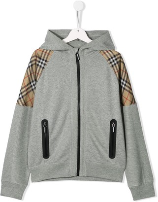 Burberry TEEN Vintage check panel hoodie