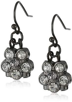 clear 1928 Jewelry Silver-Tone Petite Flower Drop Earrings