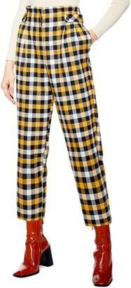 Topshop Tara Check Twill Crop Trousers