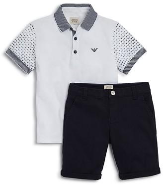 Armani Boys' Polo Shirt & Cotton Shorts Set - Little Kid, Big Kid $200 thestylecure.com
