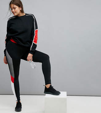 South Beach Plus Mesh Panel Legging In Black And Red