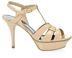 Saint Laurent Women's Tribute 75 Patent Leather Platform Sandals