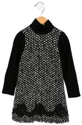 Dolce & Gabbana Girls' Lace-Trimmed Sweater Dress