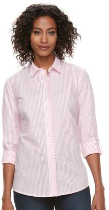 Croft & Barrow Women's Ruffle Placket Button-Down Shirt