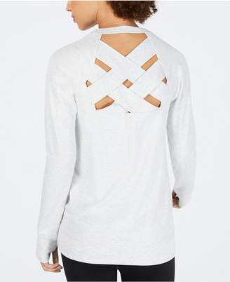 Ideology Metallic Lattice-Back Top