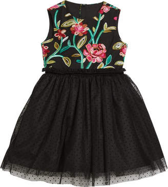 Luli & Me Flower Embroidered & Tulle Dress, Size 4-6X