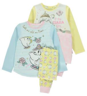 Disney Beauty and the Beast Mrs Pots Pyjama Set 2 Pack