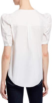 Veronica Beard Garland Puff-Sleeve Button-Front Poplin Blouse