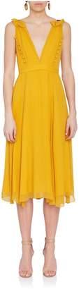 Prabal Gurung Deep-V Yellow Silk Dress