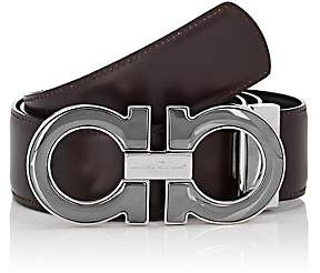 Salvatore Ferragamo Men's Double Gancini-Buckle Leather Belt - Black
