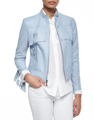 Dawn Levy Long Sleeve Zip-Front Leather Jacket $425 thestylecure.com