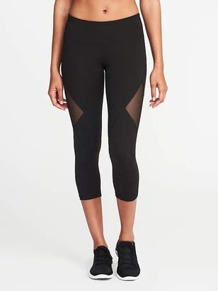 Old Navy Mid-Rise Mesh-Panel Crops for Women