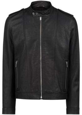 HUGO Boss Biker jacket in nappa leather chunky hardware L Black