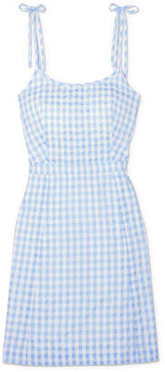 Madewell Gingham Cotton-blend Mini Dress - Blue