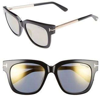 Women's Tom Ford 'Tracy' 53Mm Retro Sunglasses - Black/ Smoke Gold $415 thestylecure.com