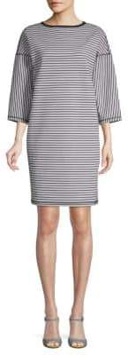 Lafayette 148 New York Striped Three-Quarter Sleeve Shift Dress