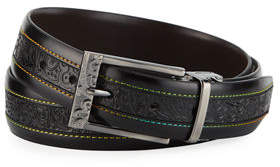 Robert Graham Men's Cisco Multicolor-Stitched Leather Belt