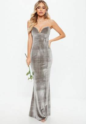 Missguided Bridesmaid Gray Velvet Sweatheart Maxi Dress