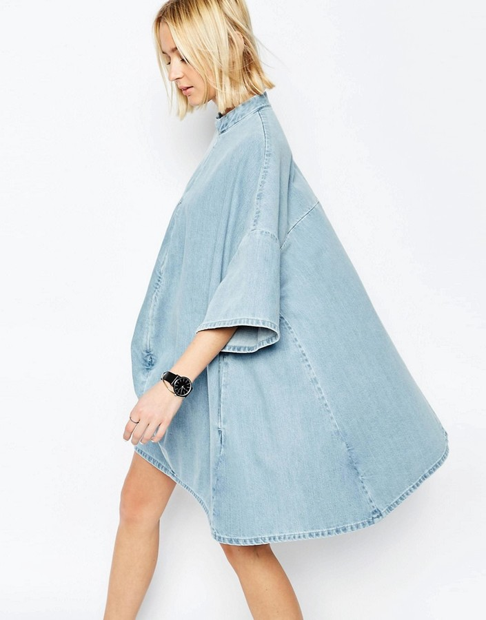 ASOS WHITE Denim Poncho Dress