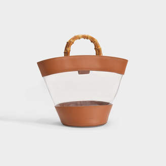 Loeffler Randall Agnes Fan Tote With Bamboo Handle In Brown Smooth Leather And Clear Pvc