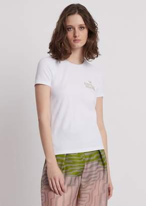 de8e90b4 Emporio Armani Jersey T-Shirt With Rhinestone Logo