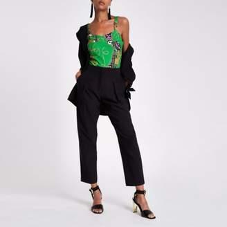 River Island Green chain print buckle detail cami bodysuit