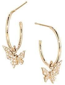Lana Girl Women's 14K Yellow Gold & Diamond Hanging Butterfly Huggie Hoops