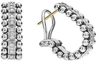 Lagos Sterling Silver Caviar Spark Diamond Oval Hoop Earrings