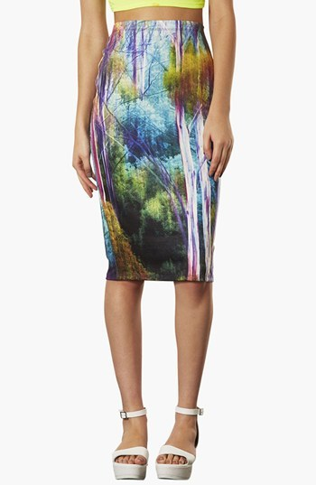 Topshop 'Forest Blur' Print Tube Skirt
