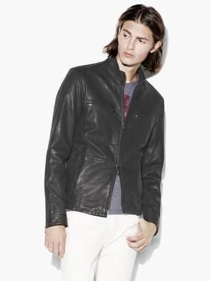 John Varvatos Mock Neck Leather Jacket