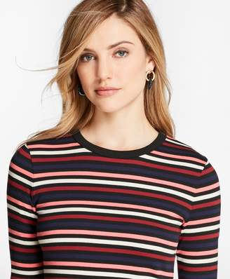Brooks Brothers Striped Cotton Interlock Three-Quarter-Sleeve T-Shirt