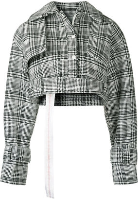 houndstooth check cropped jacket