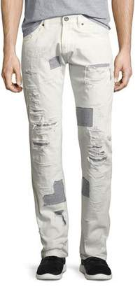Mostly Heard Rarely Seen Shredded Patchwork Straight-Leg Jeans, White