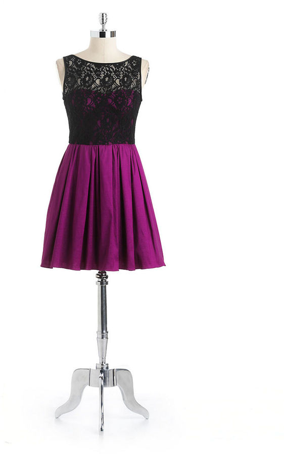 Aidan Mattox NITELINE Lace Illusion Fit-And-Flair Party Dress