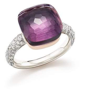 Pomellato Nudo Maxi Ring with Faceted Amethyst and Diamonds in 18K White and Rose Gold