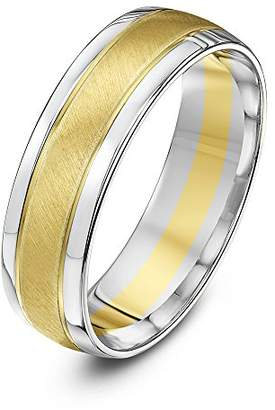 Theia Two Colours 9ct White Gold Sides with Yellow Gold Matt Centre Court Shape 6mm Wedding Ring - Size U