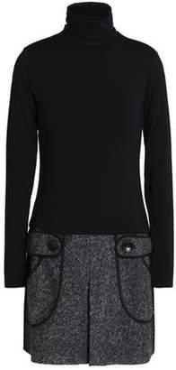 Bailey 44 Fe Fi Fo Fum Stretch-Modal Jersey And Tweed Mini Dress