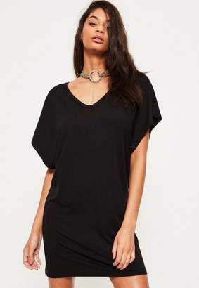 Missguided Black Oversized Wide V Neck T-Shirt Dress