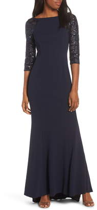 Vince Camuto Sequin Crepe Trumpet Gown