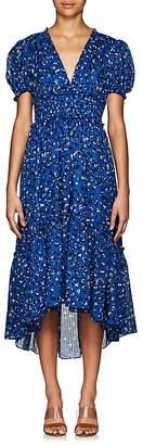 Ulla Johnson Women's Evania Floral Striped Cotton-Silk Midi-Dress