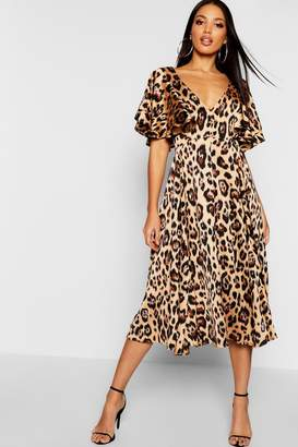 boohoo Leopard Matte Satin Ruffle Angel Sleeve Midi Dress