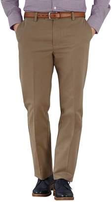Charles Tyrwhitt Tan Slim Fit Flat Front Non-Iron Cotton Chino Pants Size W30 L30