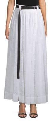 Robert Rodriguez Belted Eyelet Maxi Skirt