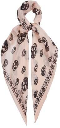 Alexander McQueen Skull Print Silk Chiffon Scarf - Womens - Pink Multi