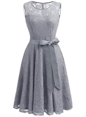 Dressystar Women's Floral Lace Dress Short Bridesmaid Dresses with Sheer Neckline XXL Grey