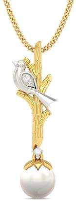 PEACOCK JEWELS 18K Yellow Gold (HallMarked) 0.03cttw Round-Cut-Diamond ( | SI) and White Pearl Pendant