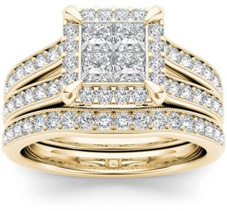 Imperial Diamond Imperial 1-1/2 Carat T.W. Diamond Split Shank Cluster Halo 14kt Yellow Gold Engagement Ring Set